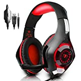 New Xbox One Headset MFEEL Gaming Headset With Mic for PC, PS4,Xbox one S Laptop Phone - Noise lsolating Volume Control LED Light (gaming headset red)