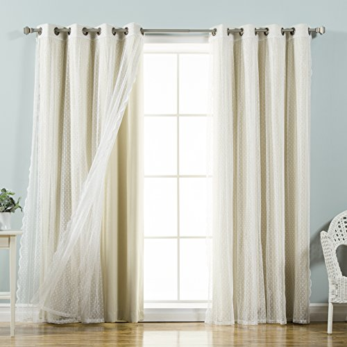 """Best Home Fashion Mix & Match Dotted Tulle Lace & Solid Blackout Curtain Set – Antique Bronze Grommet Top – Beige – 52""""W x 84""""L – (2 Curtains and 2 Sheer curtains)"""