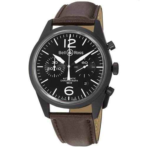 Bell-Ross-Mens-BR126-ORIGINAL-CARBON-Vintage-Black-Dial-and-Brown-Strap-Watch