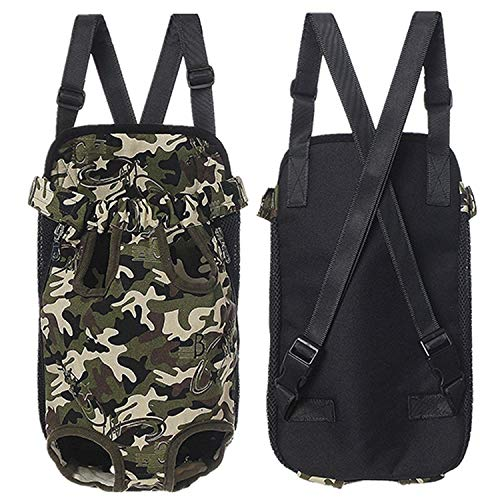 Home Fashion Pet Puppy Dog Cat Canvas Backpack Front Tote Carrier Travel Net Bag,Camouflage,L