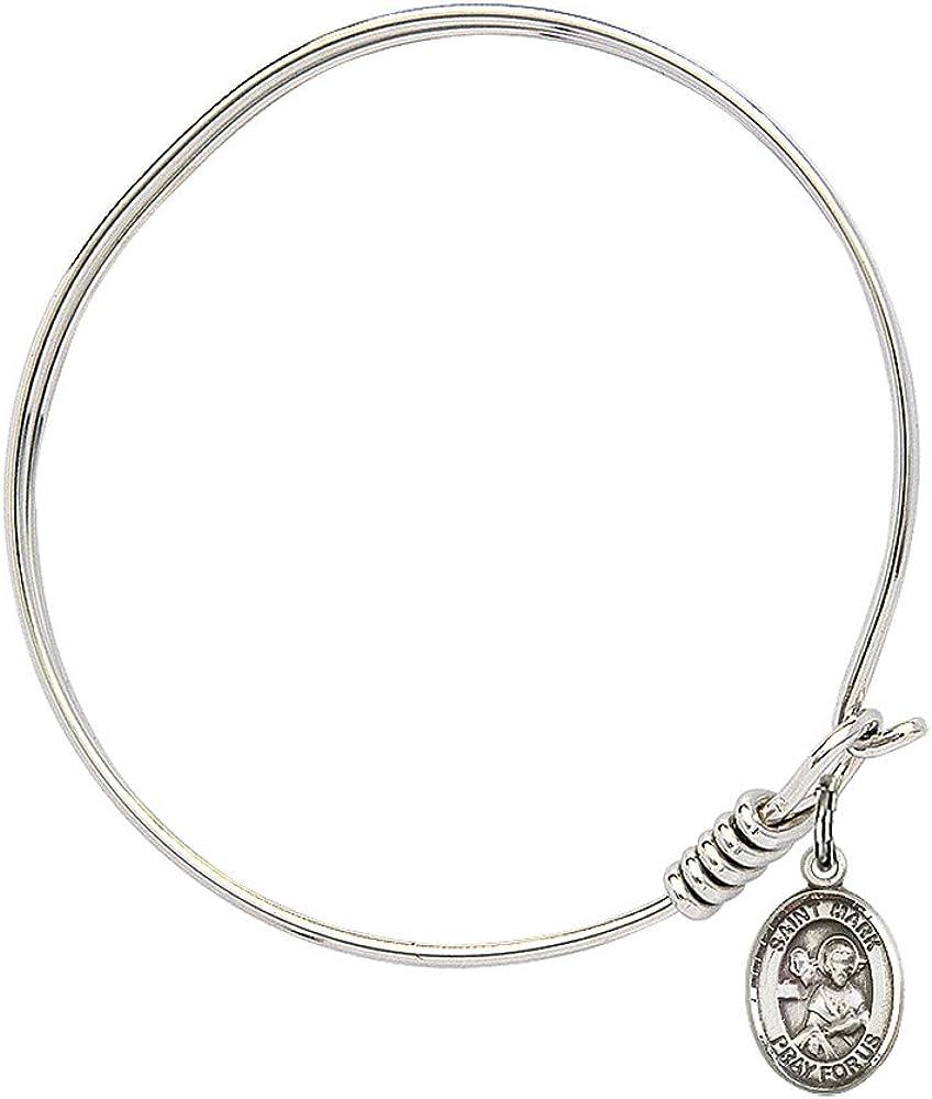 Bonyak Jewelry Round Eye Hook Bangle Bracelet w//St Mark The Evangelist in Sterling Silver
