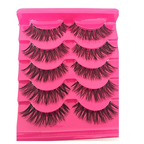 toeiwow shop 5 Pairs False Eyelashes Natural Soft Eye Lashes Makeup Handmade Thick Fake False Eyelashes Newest ()