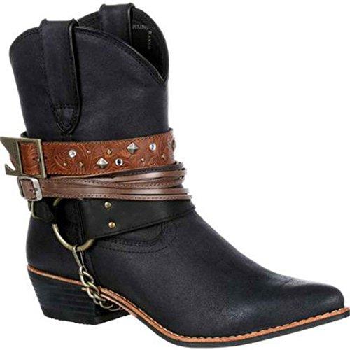 Durango Women's Crush Accessory Fashion Booties, Black Leather, 9.5
