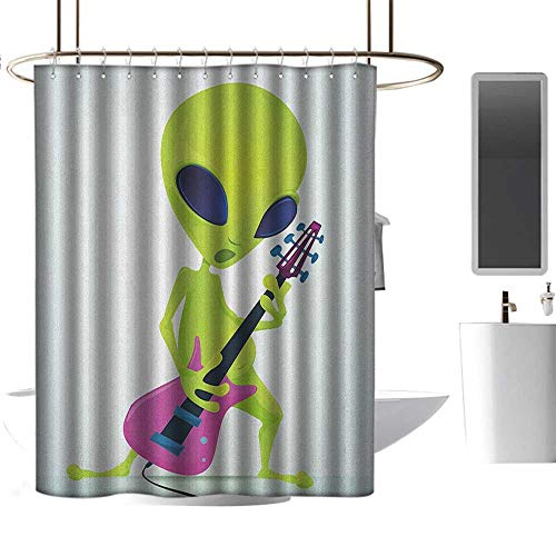 (TimBeve Polyester Shower Curtain Popstar Party,Cartoon Alien Character Playing Electric Guitar Music Monster, Apple Green Pink Navy Blue,Decorative Bathroom Curtain,Mildew Resistant 70