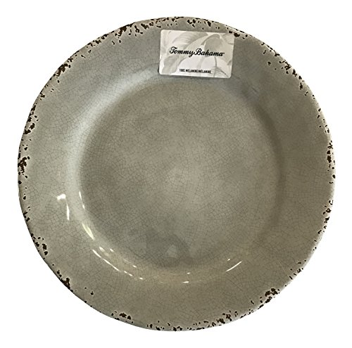 Tommy Bahama Rustic Crackle Melamine Dinner Plates, Gray (set of 4) (Dishes Bahama Outdoor Tommy)