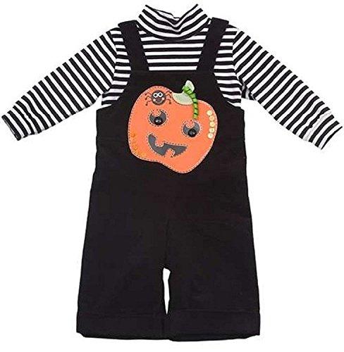 Rare Editions Baby Boy Halloween Pumpkin Overalls (3m-12m)
