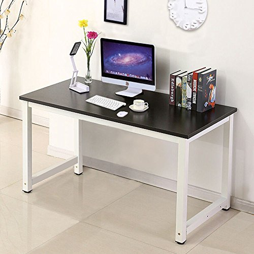 Computer Desk Wood PC Laptop Table Workstation Study Home Office Furniture Black by Happybeamy