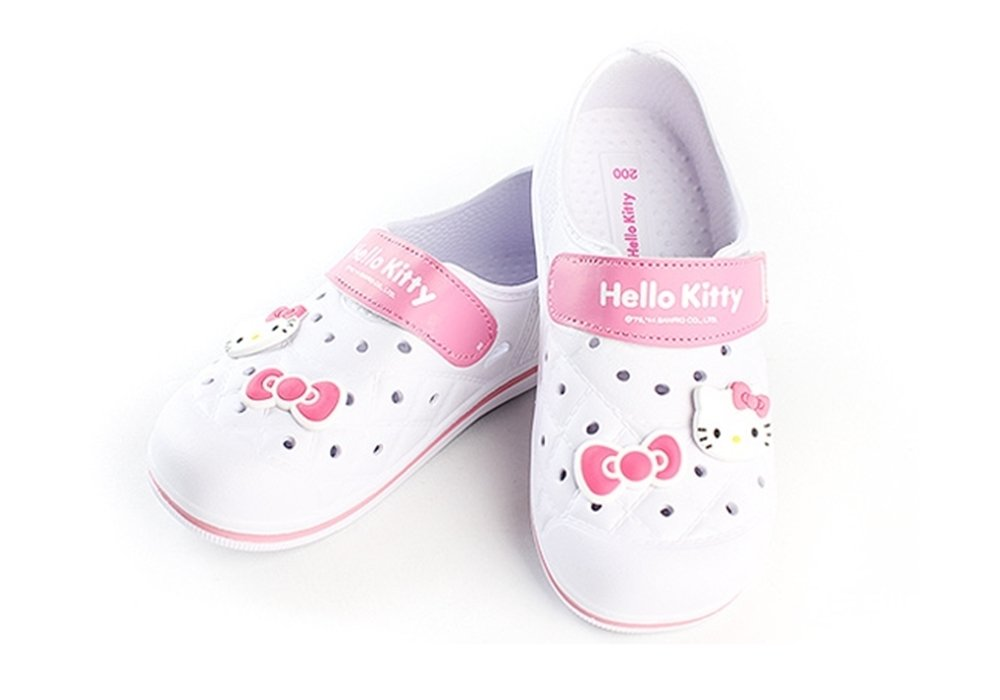 Hello Kitty Lovely Kids Casual Shoes for Girls Clogs Summer Beach Pool Spa Water White US Size 1