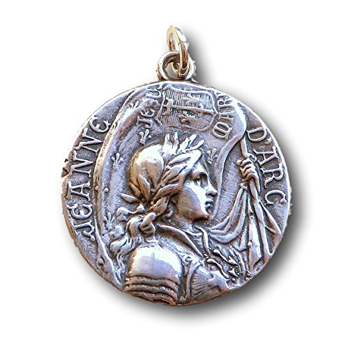 Sterling Silver Joan of Arc Medal - Patron of Strong Women and Soldiers - Antique Reproduction (Medal Alone)