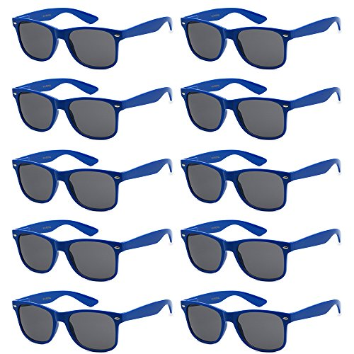 WHOLESALE UNISEX 80'S RETRO STYLE BULK LOT PROMOTIONAL SUNGLASSES - 10 PACK (Royal Blue / Smoke, 52 mm)