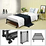 GreenForest Folding Single Bed Frame Stable Metal Slats Boxspring Replacement Twin Platform Mattress