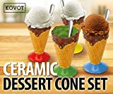 KOVOT Ceramic Dessert & Ice Cream Cone Set - Includes 4 Ceramic Cones And 4 Metal Spoons