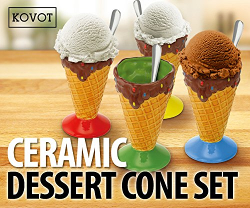 KOVOT Ceramic Dessert & Ice Cream Cone Set - Includes 4 Ceramic Cones And 4 Metal Spoons (Dishes Ice Cone Cream)