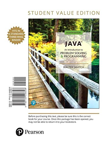 Java: An Introduction to Problem Solving and Programming, Student Value Edition (8th Edition) by Pearson