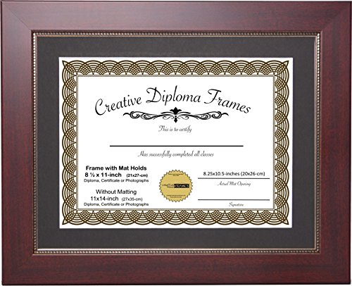 CreativePF [11x14mrv-b] Printed Gold Relief Mahogany Diploma Frame for 8.5x11-inch Media with Mat or 11x14-inch Without Including Installed Wall Hangers and Easel