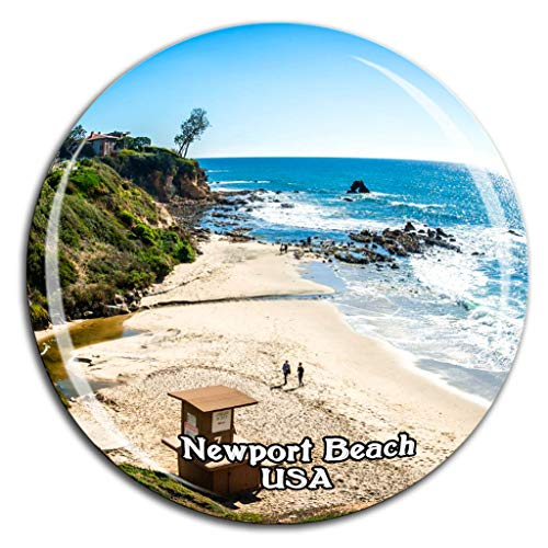 Newport Beach America USA Fridge Magnet 3D Crystal Glass Tourist City Travel Souvenir Collection Gift Strong Refrigerator ()