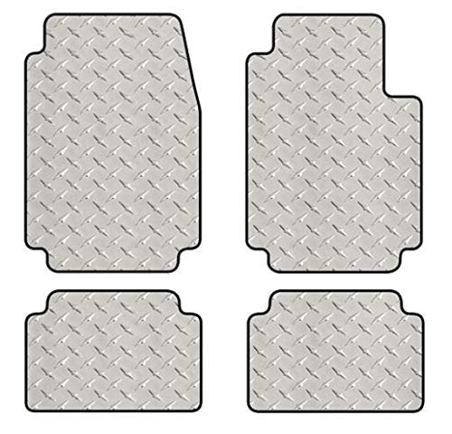 Intro-Tech FO-628-DP Diamond Plate Front and Second Row 4 pc. Custom Fit Floor Mats for Select Ford Mustang Models - Simulated Aluminum, Silver ()