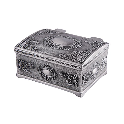 (Feyarl Vintage Tiny Trinket Box Mini Treasure Chest Jewelry Box with Floral Engraved)