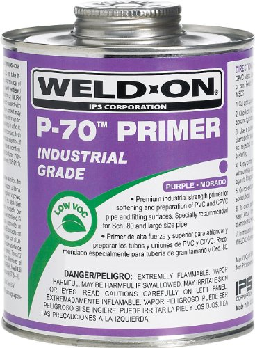 Primer Pvc (Weldon 10229 Purple P-70 Pvc/Cpvc Primer Low-Voc, 1/4 pint, Purple)