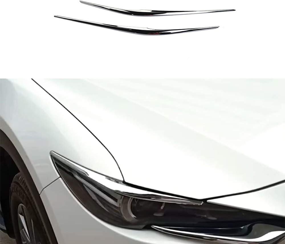 HAZYJT Front Scheinwerfer Kopf Lampe Augenbraue Augenlid Abdeckung Trim Au/ßen Zubeh/ör ABS Chrom Auto Trim,F/ür Mazda CX-5 CX5 2017 2018 2019