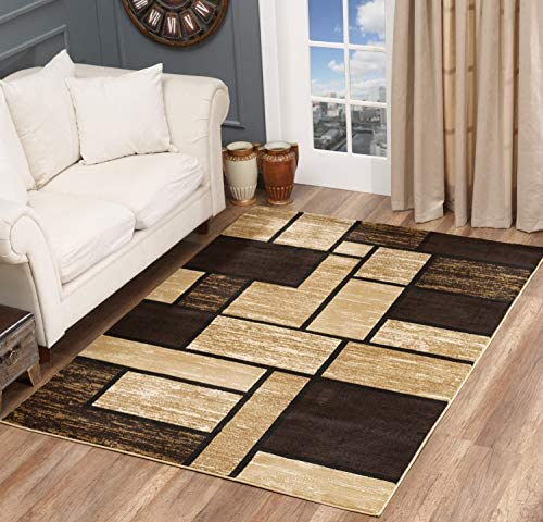 Glory Rugs Area Rug Abstract Modern Boxes Grey Black Turquoise Carpet Bedroom Living Room Contemporary Dining Accent Sevilla Collection 6614 8×10