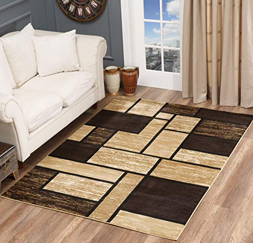 Golden Rugs Area Rug Abstract Modern Boxes Grey Black Turquoise Carpet Bedroom Living Room Contemporary Dining Accent Sevilla Collection 6614 (8x10, Brown)