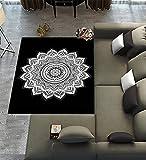 Custom Mandala Area Rugs Carpet,Mandala-Black and White Indian Modern Carpet Floor Rugs Mat for Home Living Dining Room Playroom Decoration Size 7'x5′ For Sale