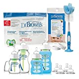 Dr. Brown's Options Glass Bottle Gift Set | 30-Pack of Pacifier/Bottle Wipe with 5 Microwave Steam Sterilizer Bags (Gift Set)