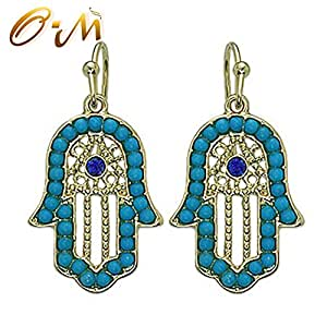 Onairmall Turquoise Women Delicate Jewelry Hamsa Earring Hand of Fatima Lucky/evil Eye Protection Amulet (Blue)
