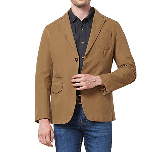 PrettyChic Men's Sport Coat Cotton Casual Slim Fit Elbow Patches Sports Jackets, Khaki, Tag Size XXL=US Size M