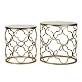 Joveco Gold End Table with Glass Top in Decorative Quatrefoil Metal Framework. Best for Living Room, Bed Side Table, Patio Garden End Table. Set of 2 Gold End Table. For Sale