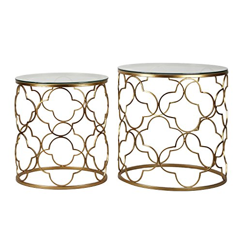 Joveco Gold End Table with Glass Top in Decorative Quatrefoil Metal Framework. Best for Living Room, Bed Side Table, Patio Garden End Table. Set of 2 Gold End Table.(Gold-2)
