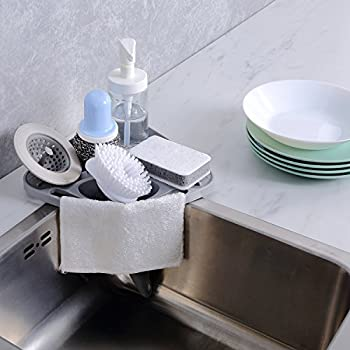 Kitchen Sink Organizer Amazon kitchen sink caddy sponge holder scratcher holder kitchen sink caddy sponge holder scratcher holder cleaning brush holder sink organizergrey workwithnaturefo