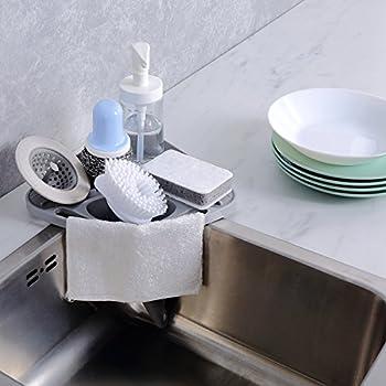 kitchen sink caddy sponge holder scratcher holder cleaning brush holder sink organizergrey - Kitchen Sink Organizer