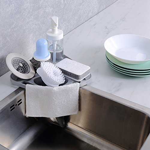 Kitchen sink caddy sponge holder scratcher holder cleaning brush holder sink organizer(Grey)