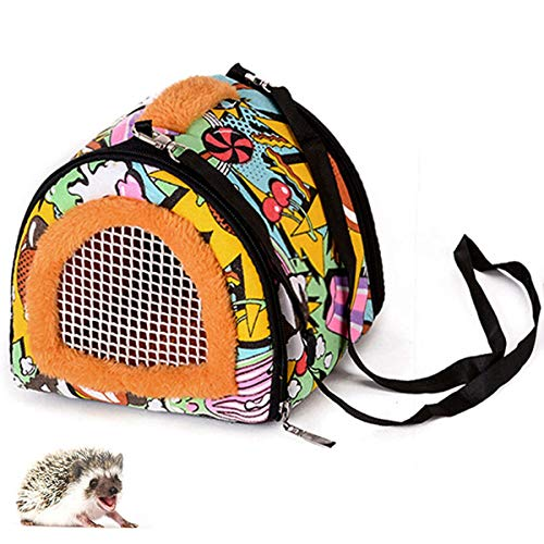 Pet Small Animals Hedgehog Rat Small Guinea Pig Carrier Bag with Detachable Strap Double Zipper Travel Guinea Pig Rat Chinchillas Hamster Hedgehog Small Animal Carrier Sling Handbag for Small Animals