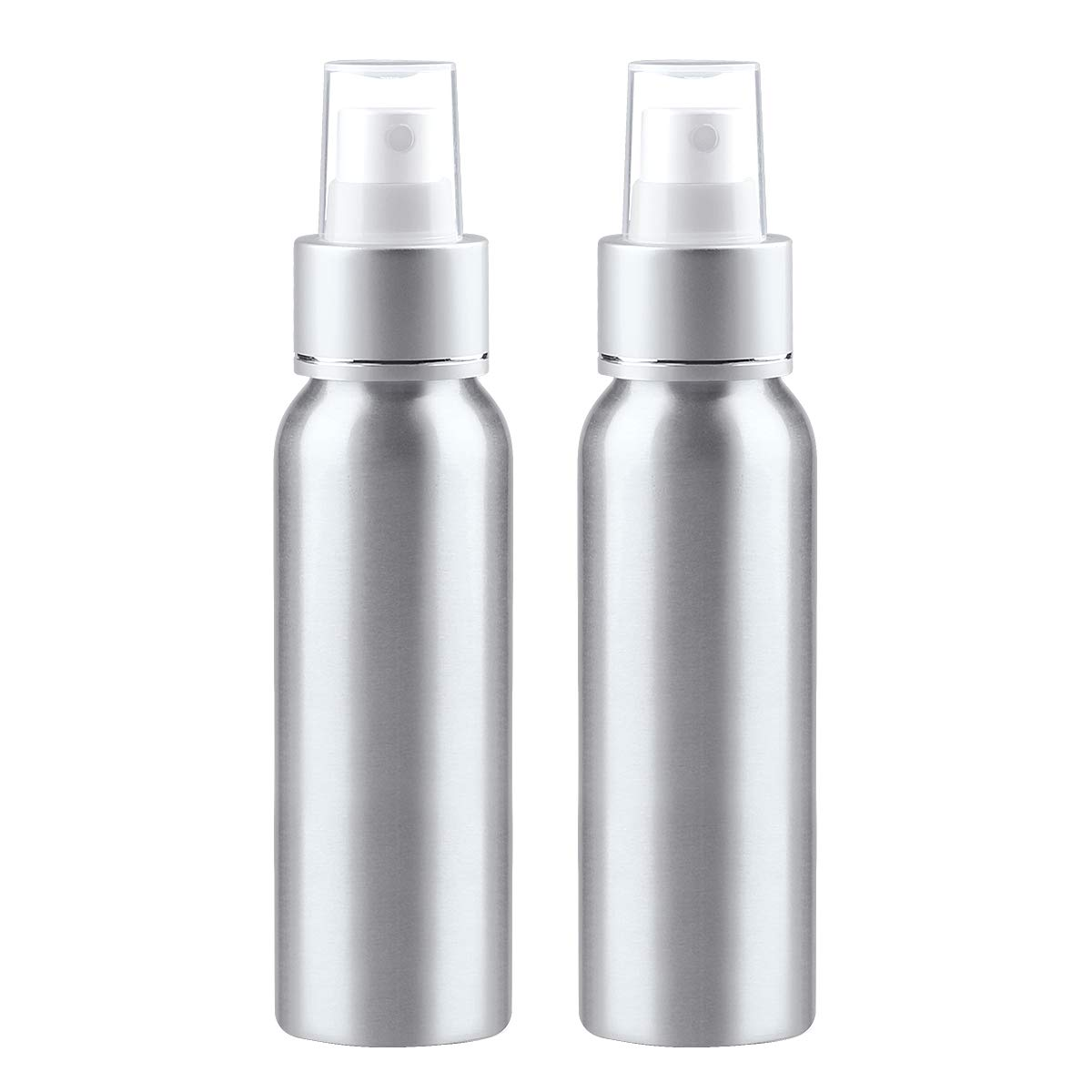 Sdootbeauty Aluminum Fine Mist Spray Bottle, 3.4oz 100ml Atomizer Perfume Bottles Refillable Cosmetic Travel Containers Empty Essential Oil Spray Bottles, Pack of 2