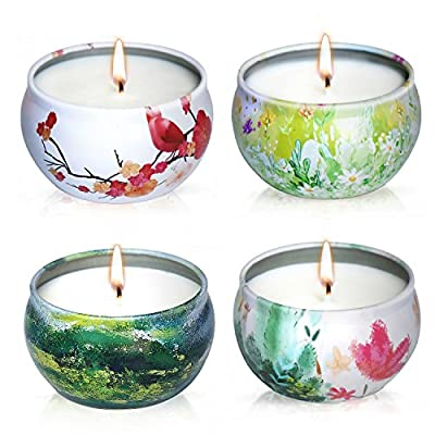 YIHANG Scented Candles Gift Set - Lavender, Rose, Tea Tree and Peppermint, Candle 100% Soy Wax for Stress Relief and Aromatherapy, Christmas Gift Candles - 4 Pack