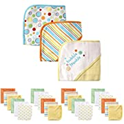 Luvable Friends Baby Hooded Towel and Washcloth Set, 27 Piece, Yellow Bubble Trouble