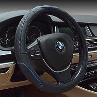 "HCMAX Fahrzeug Lenkradabdeckung Auto Lenkradschutz Universal Durchmesser 38cm (15"") Echtleder"