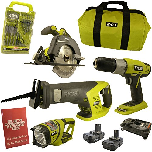 4 Piece Cordless Power Tool (Ryobi P883 (4-Piece)18-Volt ONE+ Lithium-Ion Cordless Super Combo Kit Bundle includes Drill/Driver, Reciprocating Saw, Circular Saw, Worklight, Drill Bit Set, Charger, (2) Batteries, Woodworking Book)