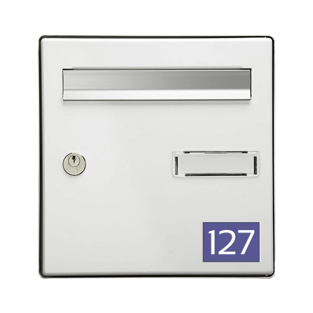 Numé ro pour boite aux lettres personnalisable rectangle format mé dium (70x50mm) violet chiffres blancs DECOHO