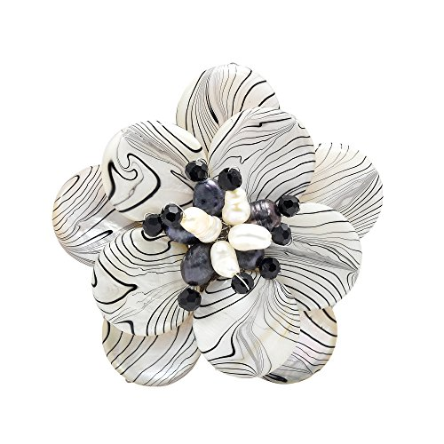 AeraVida Zebra Mother of Pearl Painted and Cultured Freshwater Pearl Floral Pin or Brooch ()