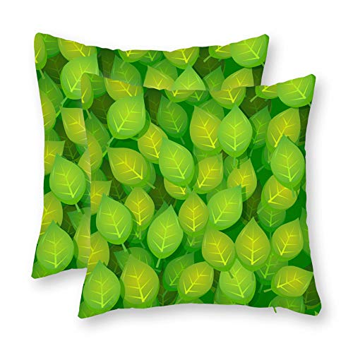 DKISEE Set of 2 Abstract Seamless Green Leaves Wallpaper Square Throw Pillow Cover Canvas Pillow Case Sofa Couch Chair Cushion Cover for Home Decor