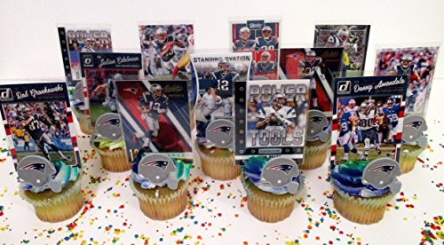 New England Patriots 24 Piece Cupcake Topper Party Favor Set (Patriots Party Supplies)