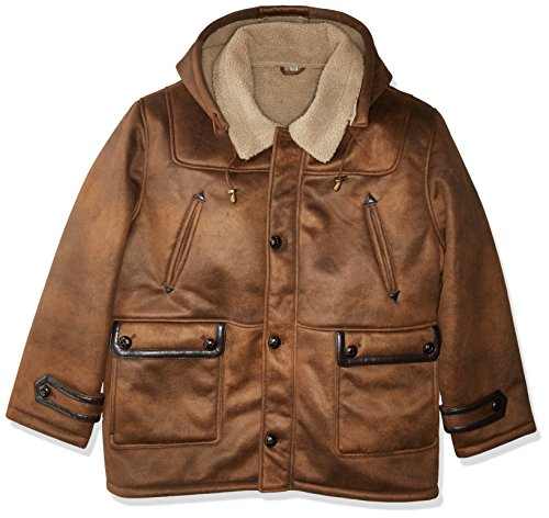 (Excelled Men's Big and Tall Faux Shearling Hooded Jacket, Brown, 3X)
