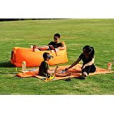 Homfu Inflatable lounger Sofa bags Air Sleeping Bag Bed Lounger Air Mattress Couch Hammock Nylon Waterproof Compression Sacks For Outdoor Camping Beach Hiking hangout Bag With Pockets and Security Loop Peg