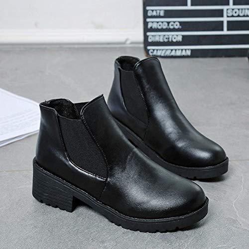Negro y Fondo Invierno Botas Botas KOKQSX Chica 36 Solo Middle 38 Plano Otoño de Estudiantes Martin black 4cm Botas Wa14nwOnqY