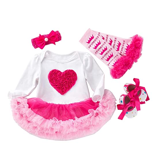 Gagacity Bebé Niña Vestido 4pcs Cumpleaños Corona Patrón de ...