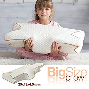 SmartDelux Orthopedic Memory Foam Pillow - High Neck Pillow for Sleeping with Pillow Covers - White Big Contour Cervical Bed Queen Pillows for Men Women Boys Girls - Model 3391